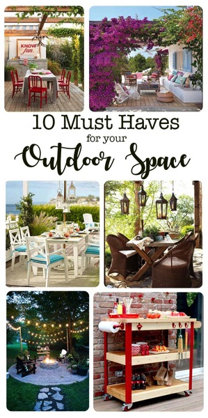 10 must have items that every outdoor space needs. Transform your porch or patio into an outdoor room with these 10 essentials.