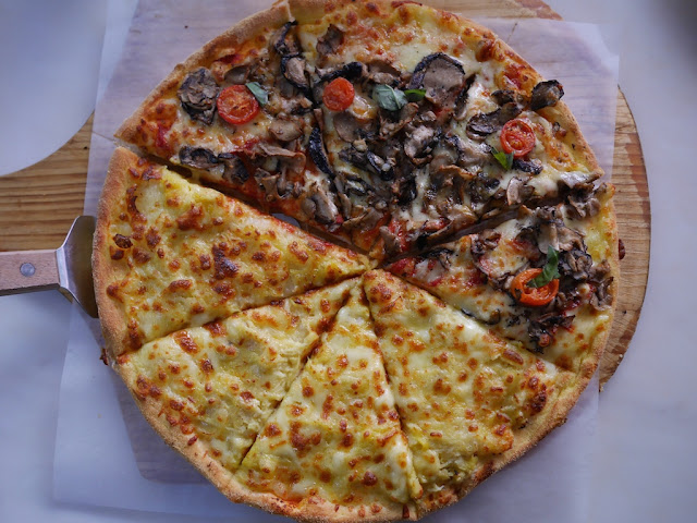 half durian and half mushroom pizza at La César at COCO Park in Shenzhen
