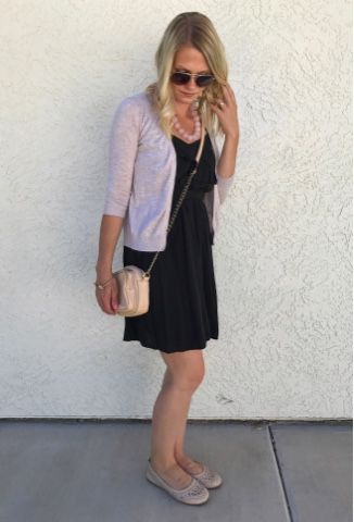 Thrifty Wife, Happy Life- Black ruffle dress with blush accessories