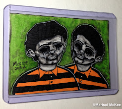Photo: Twins. 2.5 x 3.5 inches or 6 cm x 9 cm. Markers, watercolors and ink on 100 lb. acid-free Bristol paper. Signed on the front; title and signature on the back. Date created 11.19.2012. Sealed with a matte finish. Comes in a clear rigid plastic top-loader. ©Marisol McKee.