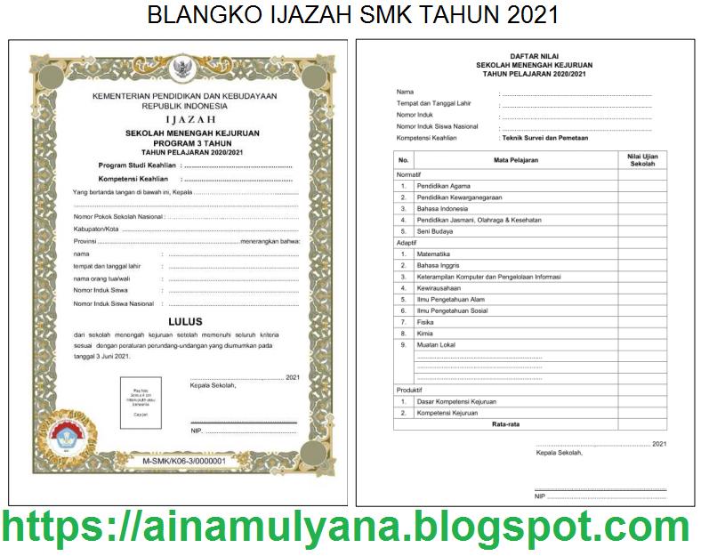 Contoh dan Juknis Pengisian atau Penulisan Blangko Ijazah SMK Tahun 2021