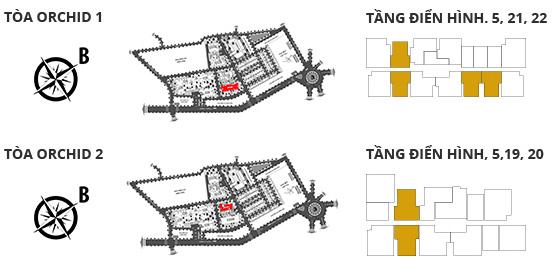 Vị trí các tòa tháp, các tầng có căn hộ 2 phòng ngủ DT: 79.03m²
