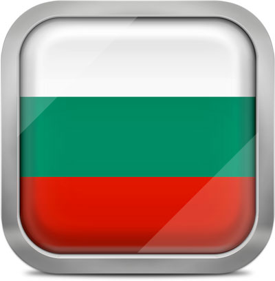Bulgaria square flag with metallic frame