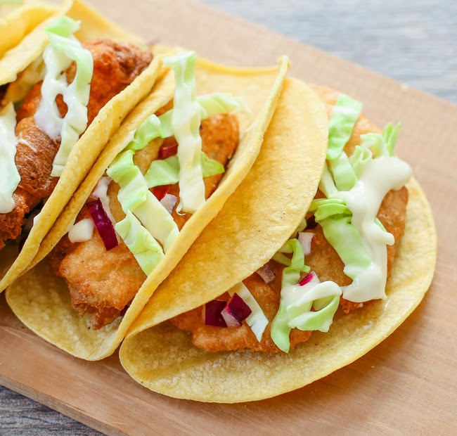 overhead photo of three Beer Battered Fish Tacos