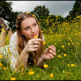 by Alex Newstead - People Portraits of Women ( field, reading, girl, grass, relax, thinking, book, summer, cute, pretty, buttercup )