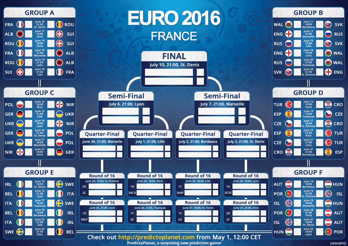 Euro 2016 Maç Takvimi
