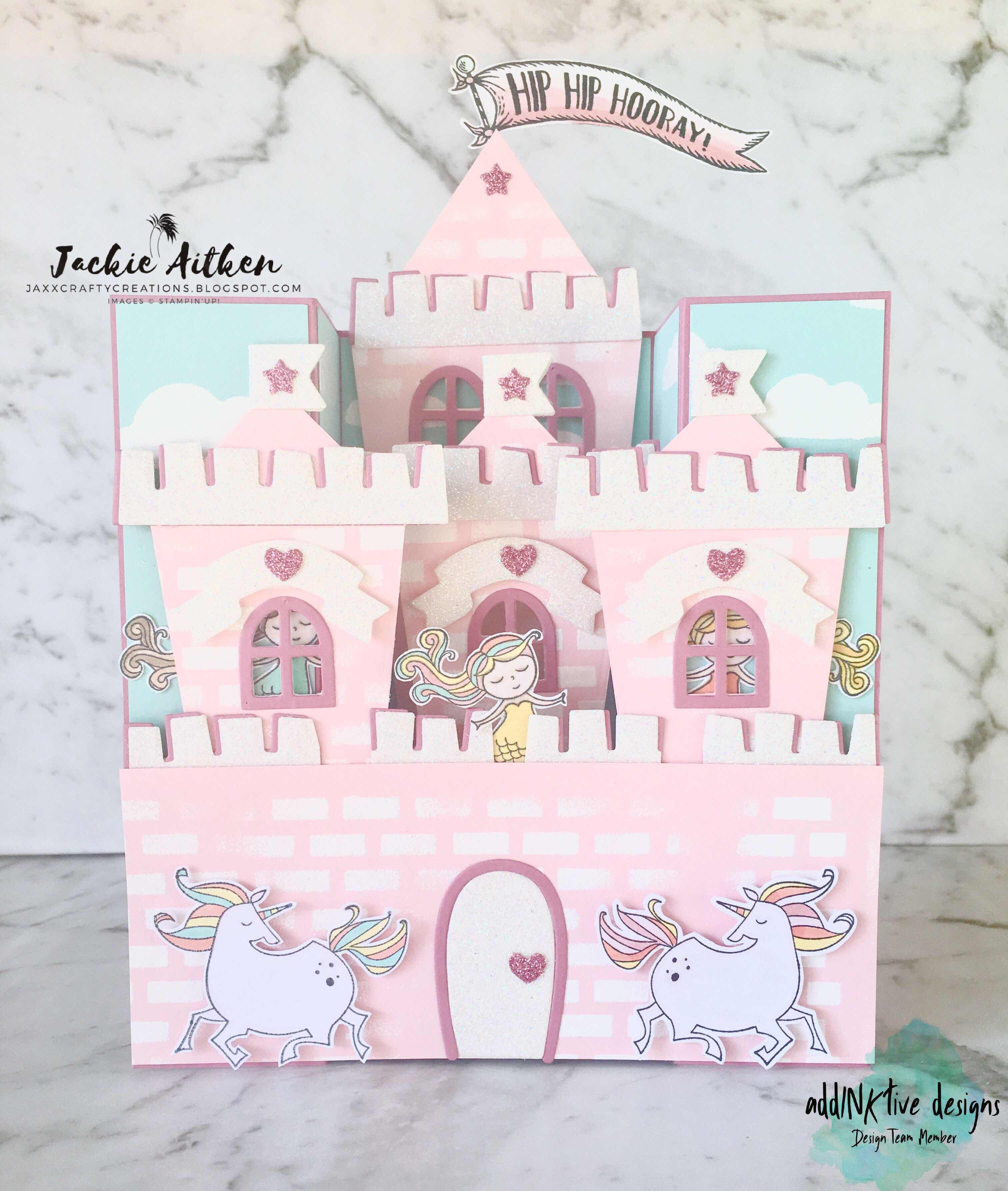 stampin up, magical day stamp set, fairy castle card, fancy fold, bridge fold card