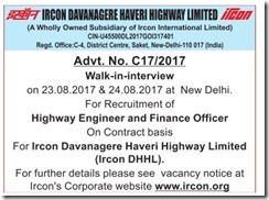 IRCON DHHL Advertismeent 2017 www.indgovtjobs.in