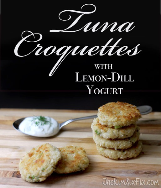 Tuna croquettes with lemon dill yogurt