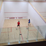 Cooper and Cameron playing in the A Group of the 2014 Kidsquash Tournament.