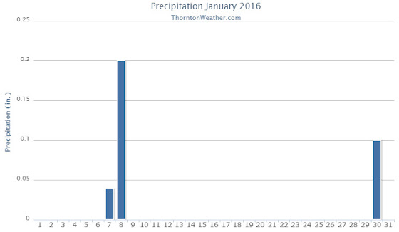 Thornton, Colorado's January 2016 precipitation summary. (ThorntonWeather.com)