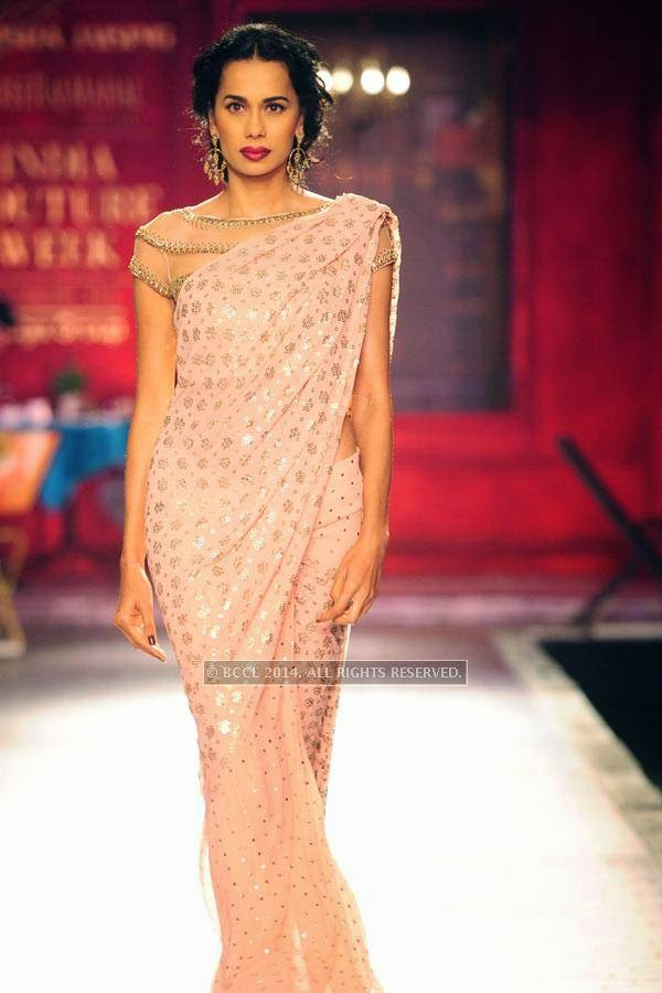 Sonalika walks the ramp for Monisha Jaisingh on Day 3 of India Couture Week, 2014, held at Taj Palace hotel, New Delhi.