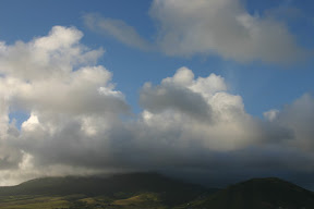 Clouds over the mountains in Saint Kitts
