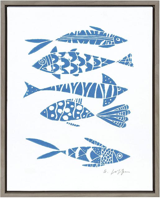linocut blue fish print