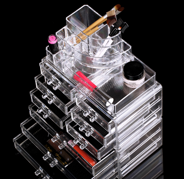 9 Drawers Cosmetic Organizer Clear Acrylic Makeup Case Box Jewelry Storage Premium Set Display