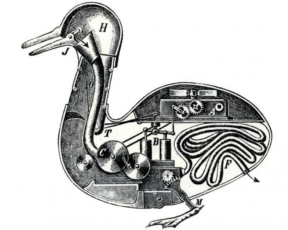 Contemporary notion of Vaucanson's fowl entrails.