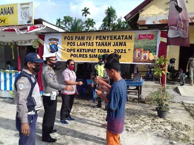 Pos Pam IV/Penyekatan Pos Lantas Tanah Jawa, Pos Ketupat Mudik Lebaran Personil Laksanakan Pemeriksaan Masker dan Identitas