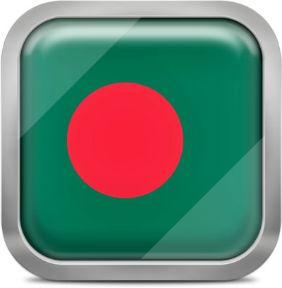 Bangladesh square flag with metallic frame