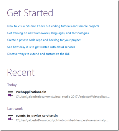 get-started-section-with-visual-studio-2017
