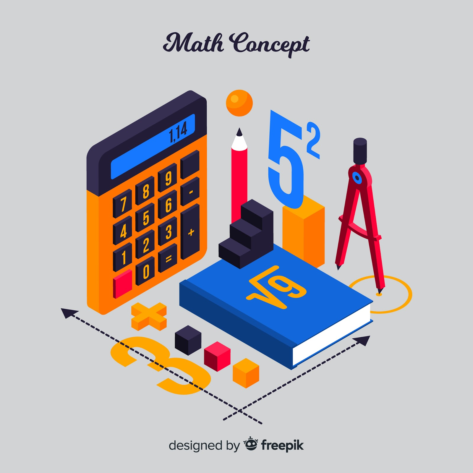 Isometric Maths Material Background Free Download Vector CDR, AI, EPS and PNG Formats