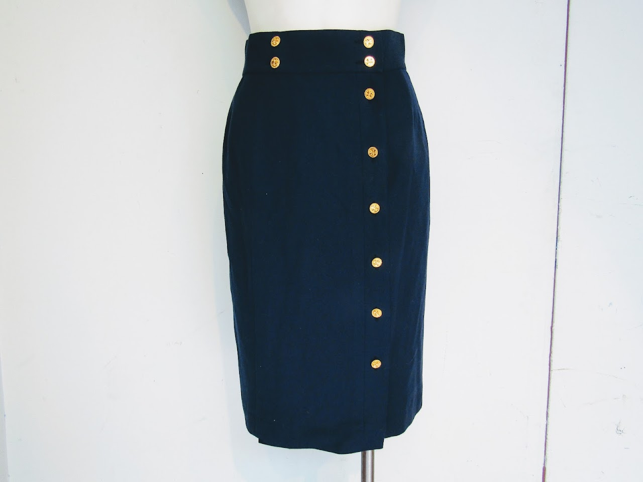 Chanel Navy Blue Wrap Skirt