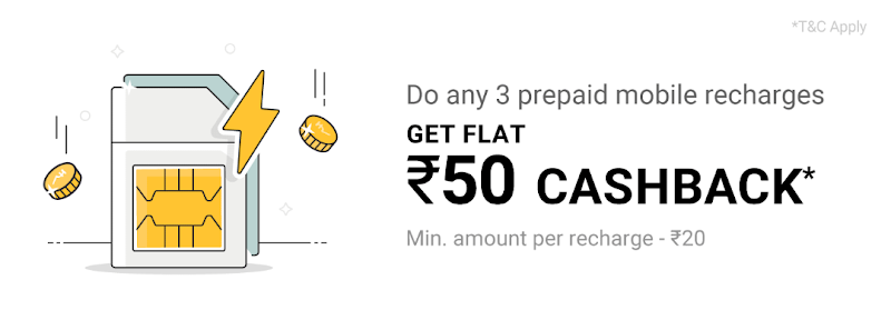 (Expired) Phonepe - Get Flat ₹50 Cashback On Completing Any 3 Prepaid Recharges