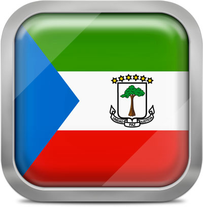 Equatorial Guinea square flag with metallic frame