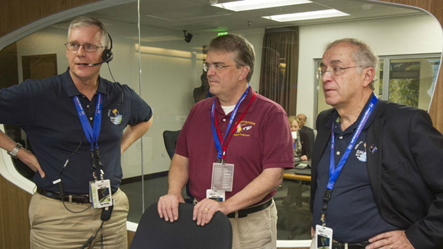 Representative John Culberson (R–TX, center) with NASA officials in 2015. Rep. Culberson offered an amendment to the $62 billion spending bill covering the departments of commerce, justice, and several science agencies, including NASA, to restore funding for NASA's climate monitoring system. Photo: T. Wynne / NASA SMAP