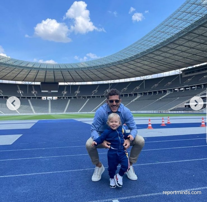 Ex Man City striker Stevan Jovetic, 31, takes his wife and son on tour in his new club, Hertha Berlin
