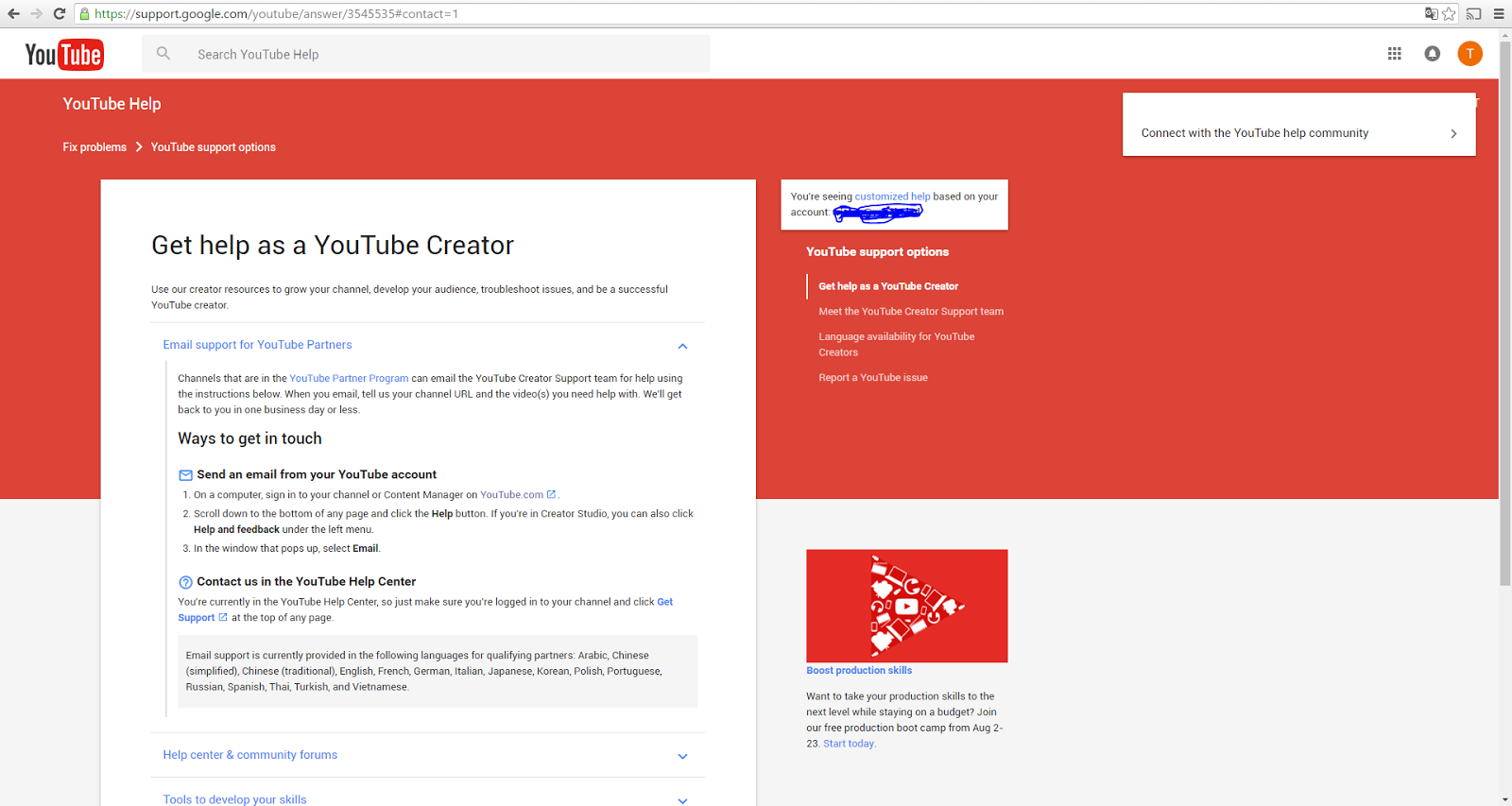 Trying to contact YouTube as a YouTube partner, but can't find the ...