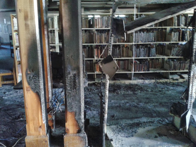 Burned columns inside the library.