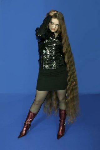 Rapunzel woman female Model Girl Floor Length Hair photo image