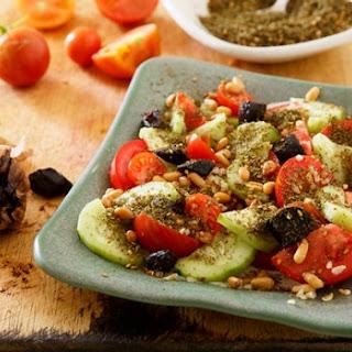 Tomatoes, Pickled Cucumber, Za'atar And Yoghurt Tahini Dressing