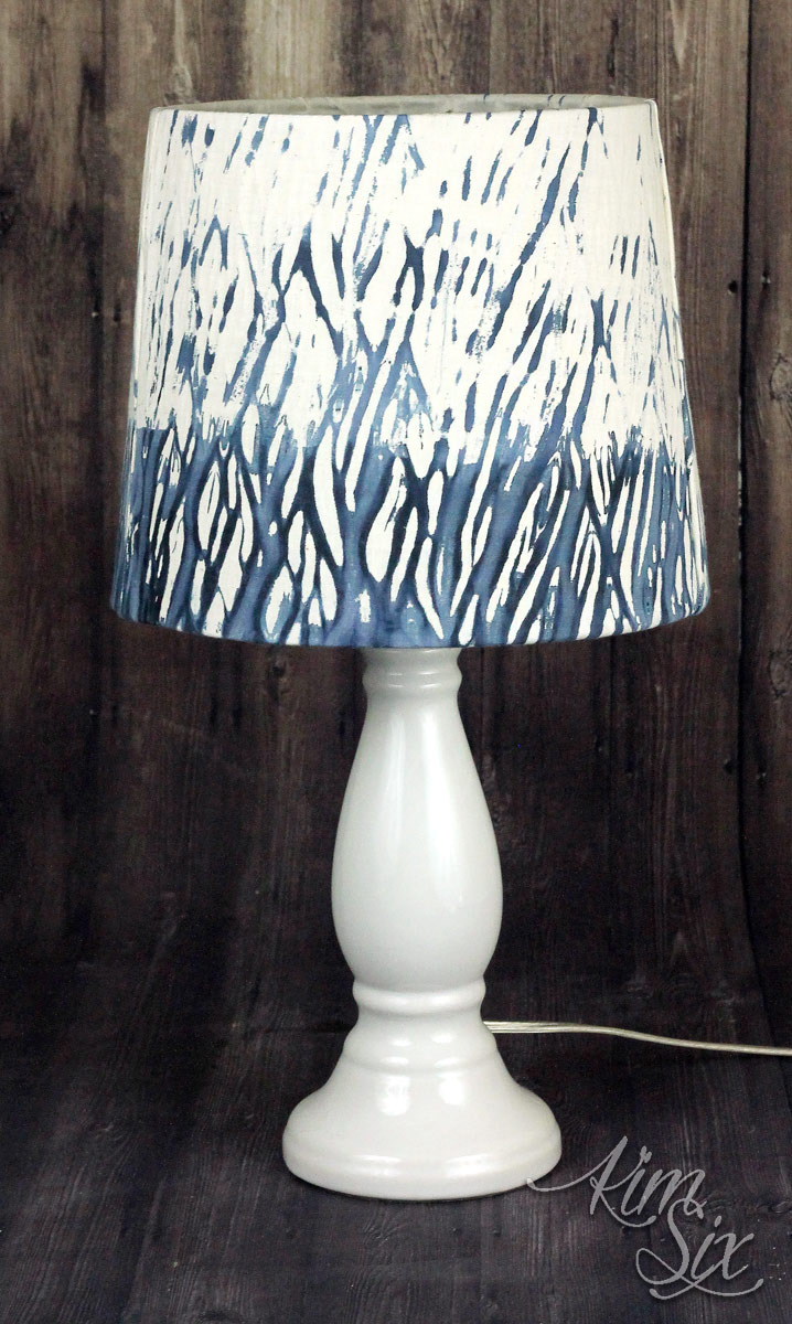 Using shibori fabric on lampshade