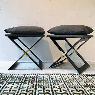 Campaign Base End Table/ Stool Pair