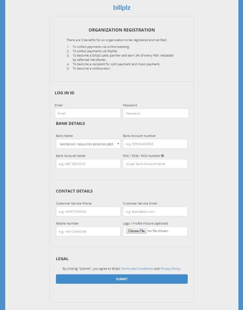 BillPlz Account Registration