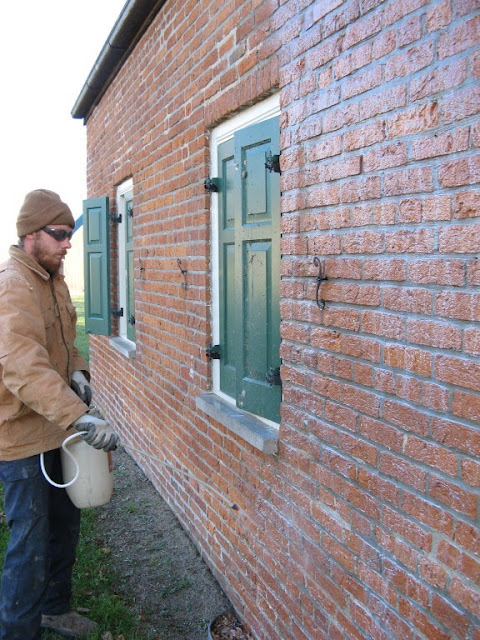 Application Of A Tech Masonry And Brick Sealer To An 1850s Historic Brick  Building.