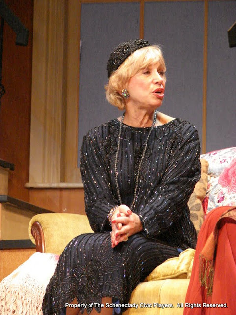 Patricia Hoffman in THE ROYAL FAMILY (R) - December 2011.  Property of The Schenectady Civic Players Theater Archive.