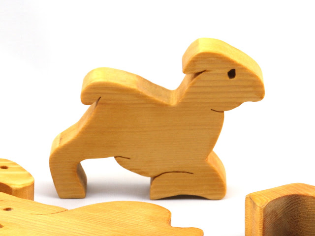 Handmade Wooden Toy Stacking Goat Yoga Puzzle