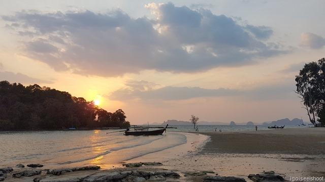 Evening scene at Klong Muang Beach, next to Nakamanda Resort.