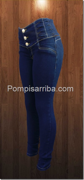 Jeans petroleo dobles en pretina