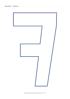 Lámina para colorear y pintar el número siete en color azul