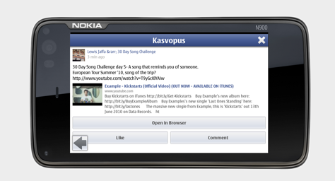 Kasvopus Facebook client for Nokia N8