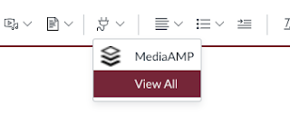 Plug-in menu showing MediaAmp and View All in Canvas LMS Enhanced RCE
