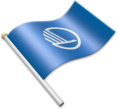 The Nordic Council flag on a flagpole clipart image