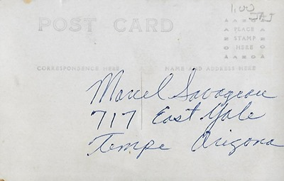 Postcard to Marcel in AZ DL ant back