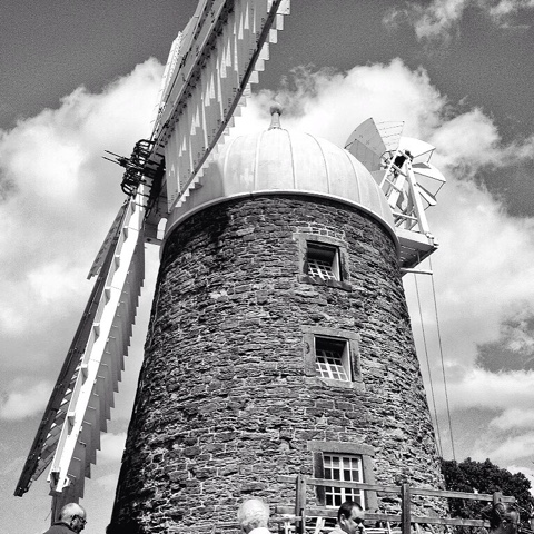 Heage WIndmill in black and white