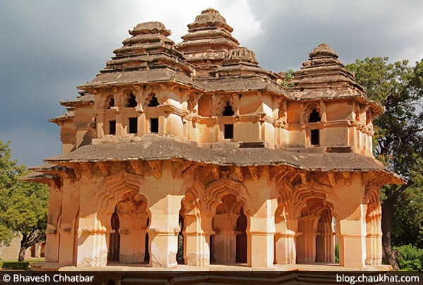 The beautiful Lotus Mahal [Lotus Palace] at Hampi