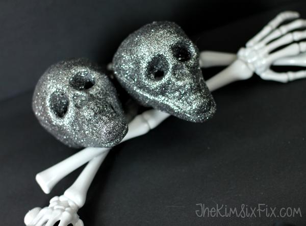 Sparkly styrofoam skulls