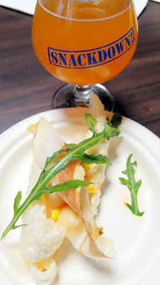 Snackdown 2016 Old Salt Marketplace created 'Last Year's Succotash' with alubias gigantes beans, pickled corn, fermented pepper vinagrette, shaved country ham and arugula on a pork rind to pair with Ex Novo Brewing with their Thick as Thieves Dry Hoppped Belgo-American Sour Pale, a collaboration beer they created with Solemn Oath Brewery in Chicago